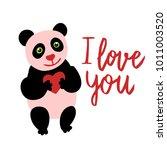 happy valentine cute panda flat ... | Shutterstock .eps vector #1011003520