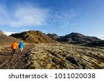 iceland landscape with a grass... | Shutterstock . vector #1011020038