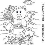 dress up teddy funny colouring... | Shutterstock . vector #1011029968