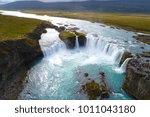 majestic godafoss waterfall ... | Shutterstock . vector #1011043180