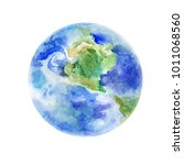 earth  watercolor illustration... | Shutterstock . vector #1011068560