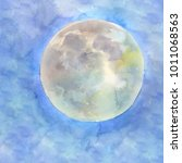 watercolor full moon on the... | Shutterstock . vector #1011068563
