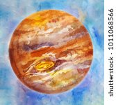 brown planet  watercolor space... | Shutterstock . vector #1011068566