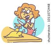 funny vector cartoon of woman...   Shutterstock .eps vector #1011072448