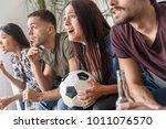 group of friends sport fans... | Shutterstock . vector #1011076570