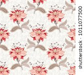 seamless floral background with ... | Shutterstock . vector #1011077500