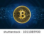 golden bitcoin digital currency ... | Shutterstock .eps vector #1011085930