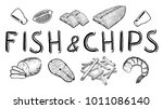 vector hand drawn fish and... | Shutterstock .eps vector #1011086140