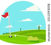 golf background with flag | Shutterstock .eps vector #1011093058