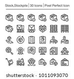 stock stockpile line icon set | Shutterstock .eps vector #1011093070