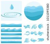 a wave  a drop of water  a set... | Shutterstock .eps vector #1011095380
