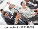 a man is asking a question at a ... | Shutterstock . vector #101110039