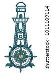 compass lighthouse wheel from...   Shutterstock . vector #1011109114