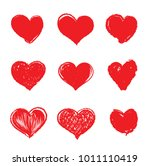 heart red hand drawing | Shutterstock .eps vector #1011110419