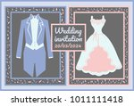 wedding card with a suit and a...   Shutterstock .eps vector #1011111418