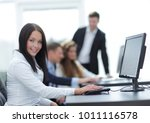 business woman on the... | Shutterstock . vector #1011116578