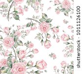 Stock photo watercolor seamless rose pattern pattern for fabric and wallpaper for design and decoration 1011126100