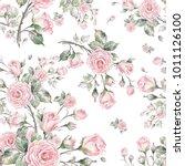 watercolor seamless rose... | Shutterstock . vector #1011126100