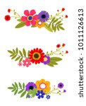 Stock vector colorful spring flowers with leaf vector set isolated 1011126613