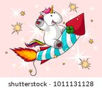 unicorn rides a rocket | Shutterstock .eps vector #1011131128