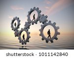 gears of teamwork at sea at... | Shutterstock . vector #1011142840