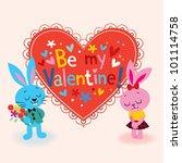 Bunnies in love Valentine card - stock photo