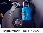 encrypted hard disk. padlock...   Shutterstock . vector #1011149929