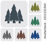 fir trees forest flat icon   | Shutterstock .eps vector #1011151564