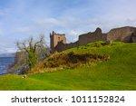 ruins of urquhart castle along...   Shutterstock . vector #1011152824