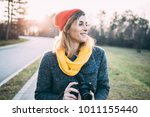 hipster woman with retro camera | Shutterstock . vector #1011155440