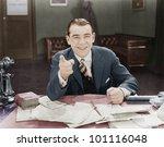 portrait of happy friendly... | Shutterstock . vector #101116048