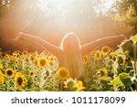 Beauty Sunlit Woman On Yellow...