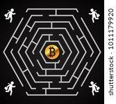 bitcoin hexagonal labyrinth  ...   Shutterstock .eps vector #1011179920