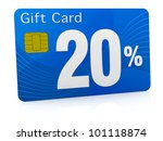 one gift card with the number twenty and percent symbol (3d render) - stock photo