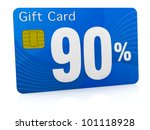 one gift card with the number ninety and percent symbol (3d render) - stock photo