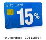 one gift card with the number fifteen and percent symbol (3d render) - stock photo