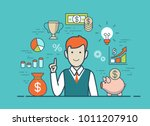 flat style linear young man... | Shutterstock .eps vector #1011207910