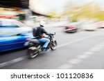 City Traffic With A Motorbike...