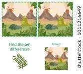 funny dinosaurs. find 10... | Shutterstock .eps vector #1011216649