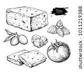 greek feta cheese block  slice... | Shutterstock .eps vector #1011219388