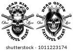 set of skulls king and queen.... | Shutterstock .eps vector #1011223174