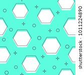 flat line hexagon pattern... | Shutterstock .eps vector #1011224890