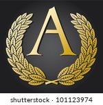 letter a and gold and laurel... | Shutterstock .eps vector #101123974