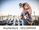beautiful couple in venice ... | Shutterstock . vector #1011240544