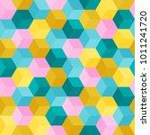 hexagon grid seamless vector... | Shutterstock .eps vector #1011241720