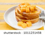 french toast with fresh mango... | Shutterstock . vector #1011251458