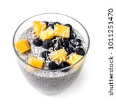 chia pudding isolated in glass... | Shutterstock . vector #1011251470