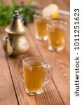 arabic mint and lemon tea glass ... | Shutterstock . vector #1011251623