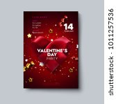 valentines day party flyer.... | Shutterstock .eps vector #1011257536
