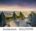 paris cityscape taken from arc... | Shutterstock . vector #1011270790